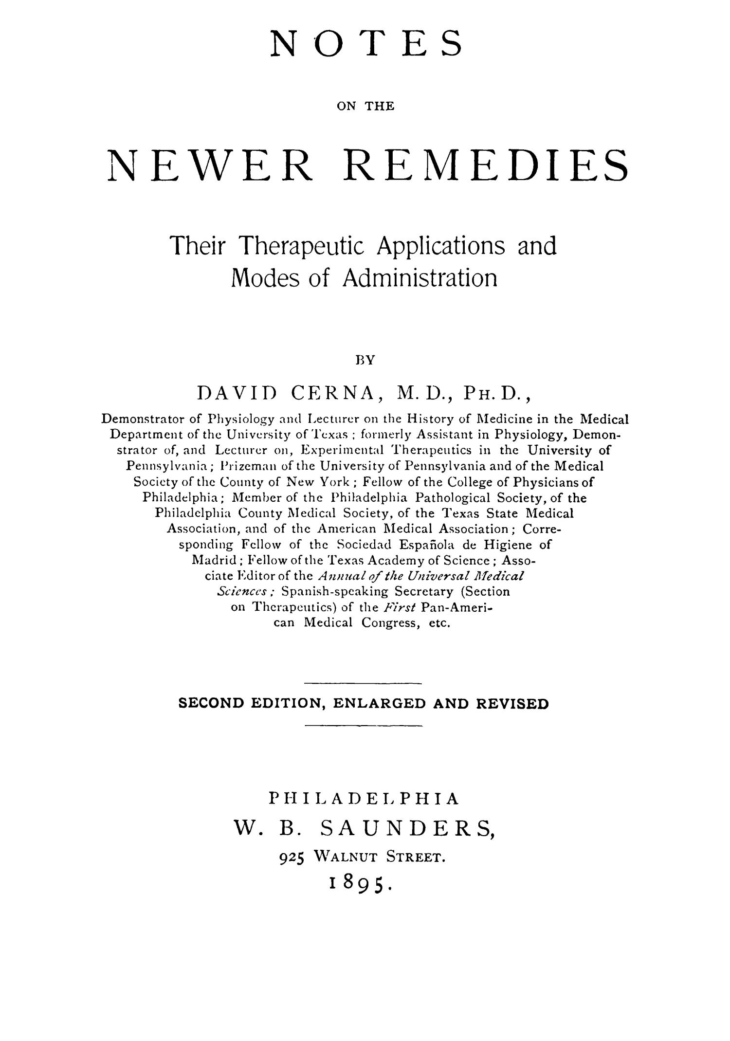 Notes on the Newer Remedies: Their Therapeutic Applications and Modes of Administration, Second Edition                                                                                                      Title Page