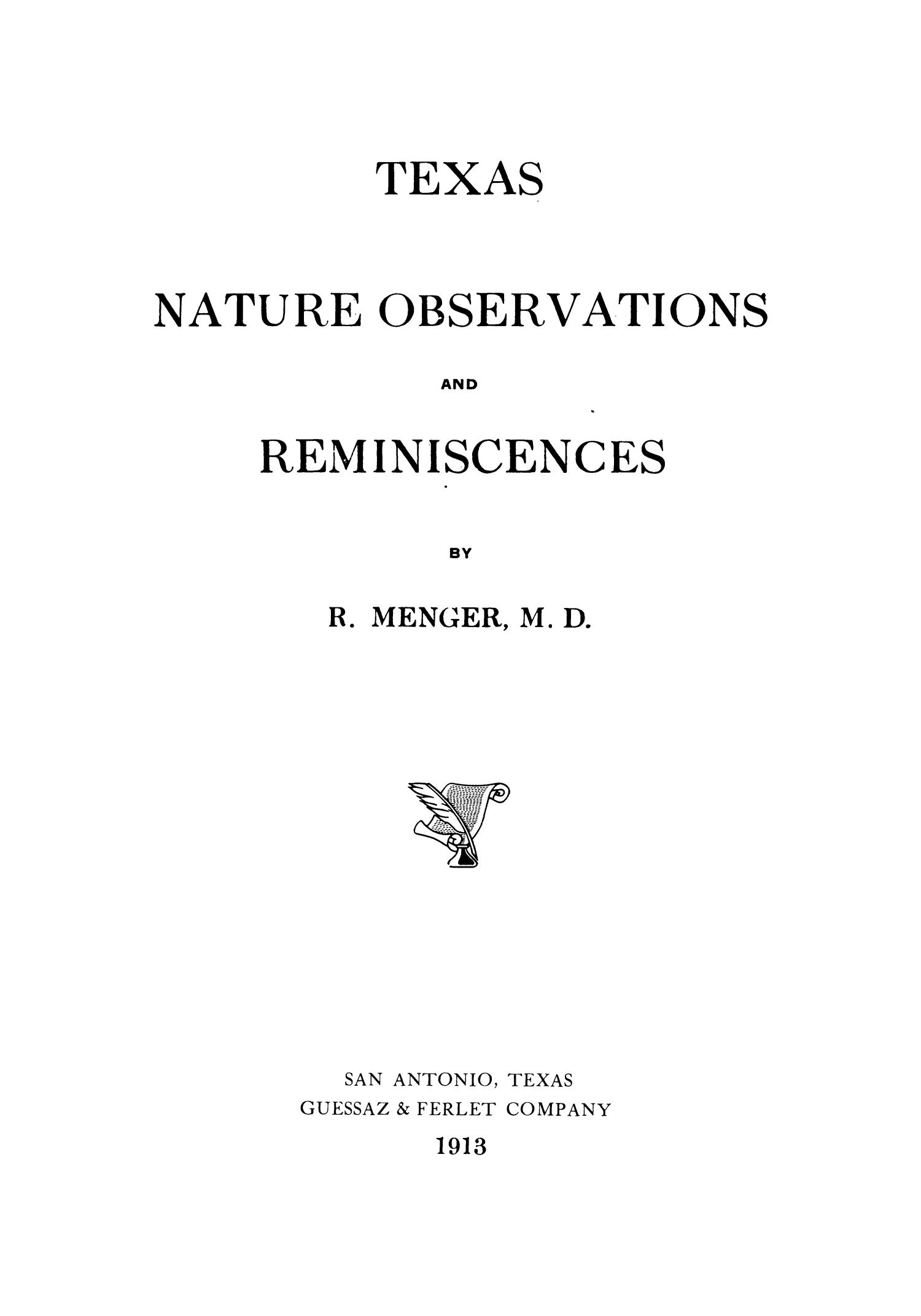 Texas Nature Observations and Reminiscenses                                                                                                      Title Page