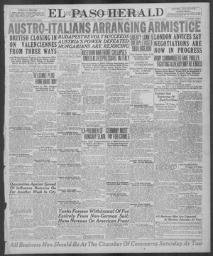 Primary view of object titled 'El Paso Herald (El Paso, Tex.), Ed. 1, Friday, November 1, 1918'.