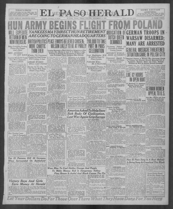 El Paso Herald El Paso Tex Ed 1 Friday November 15 1918