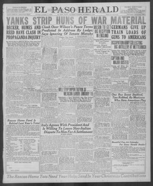 Primary view of object titled 'El Paso Herald (El Paso, Tex.), Ed. 1, Saturday, December 21, 1918'.