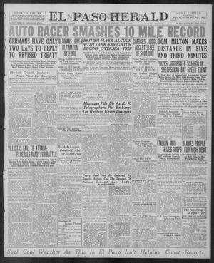 Primary view of object titled 'El Paso Herald (El Paso, Tex.), Ed. 1, Saturday, June 14, 1919'.