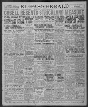Primary view of object titled 'El Paso Herald (El Paso, Tex.), Ed. 1, Wednesday, June 25, 1919'.