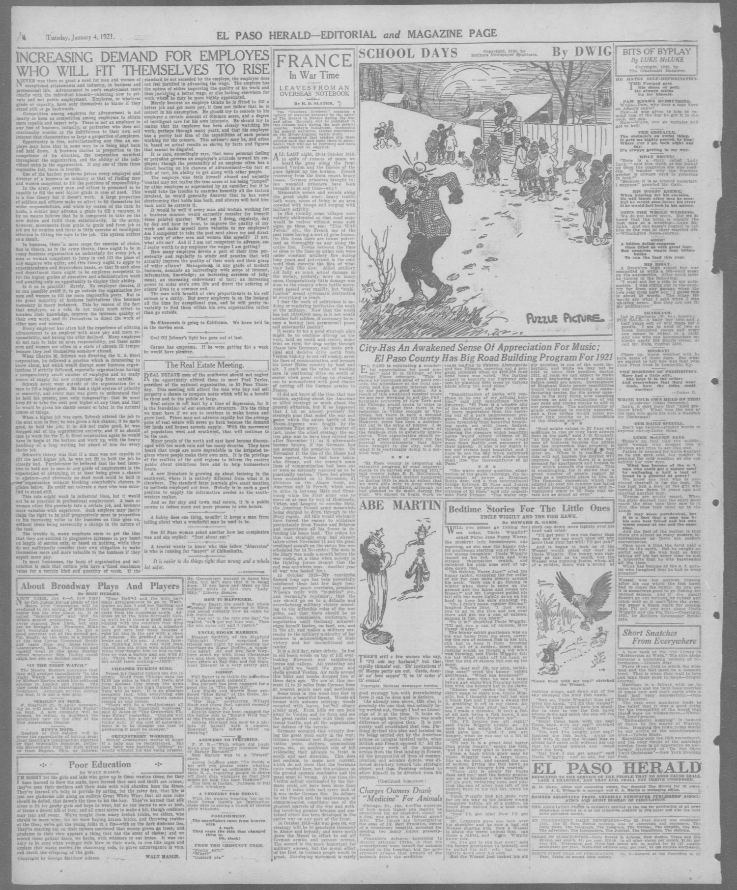 El Paso Herald (El Paso, Tex.), Ed. 1, Tuesday, January 4, 1921                                                                                                      [Sequence #]: 4 of 10