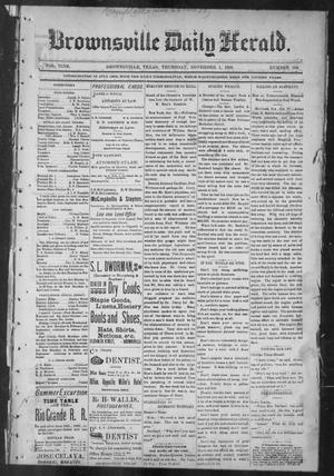 Primary view of object titled 'Brownsville Daily Herald (Brownsville, Tex.), Vol. NINE, No. 104, Ed. 1, Thursday, November 1, 1900'.