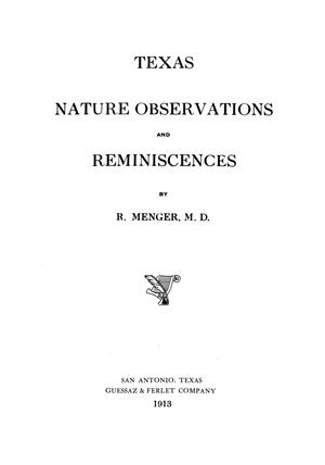 Texas nature observations and reminiscences