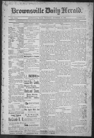 Primary view of object titled 'Brownsville Daily Herald (Brownsville, Tex.), Vol. NINE, No. 128, Ed. 1, Thursday, November 29, 1900'.