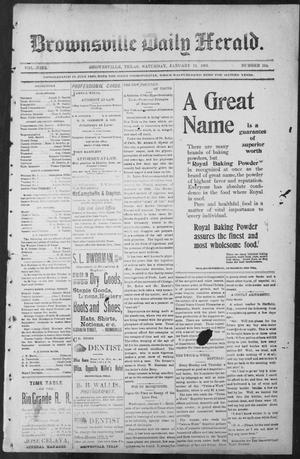 Primary view of object titled 'Brownsville Daily Herald (Brownsville, Tex.), Vol. NINE, No. 164, Ed. 1, Saturday, January 12, 1901'.
