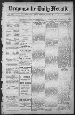 Primary view of object titled 'Brownsville Daily Herald (Brownsville, Tex.), Vol. NINE, No. 210, Ed. 1, Thursday, March 7, 1901'.