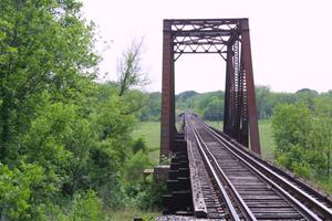 Primary view of object titled '[Photograph of Truss Bridge in Erath County]'.