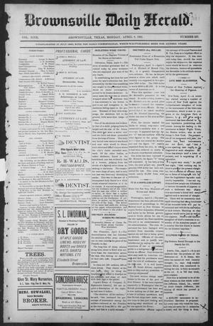 Primary view of object titled 'Brownsville Daily Herald (Brownsville, Tex.), Vol. NINE, No. 237, Ed. 1, Monday, April 8, 1901'.