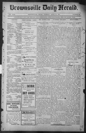 Primary view of object titled 'Brownsville Daily Herald (Brownsville, Tex.), Vol. NINE, No. 250, Ed. 1, Tuesday, April 23, 1901'.