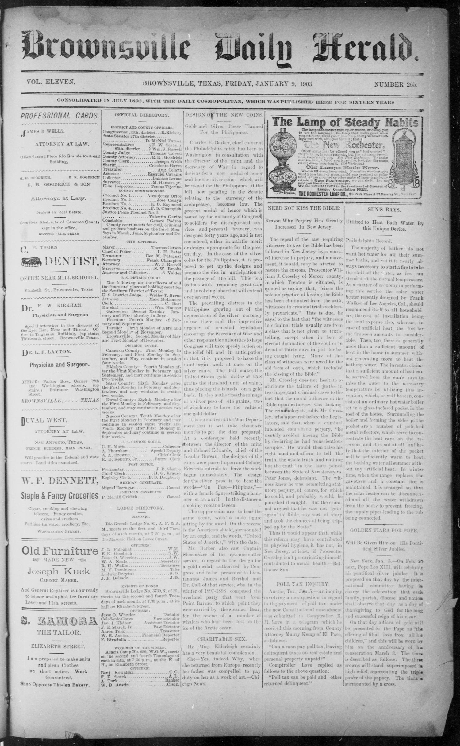 The Brownsville Daily Herald. (Brownsville, Tex.), Vol. ELEVEN, No. 265, Ed. 1, Friday, January 9, 1903                                                                                                      [Sequence #]: 1 of 4