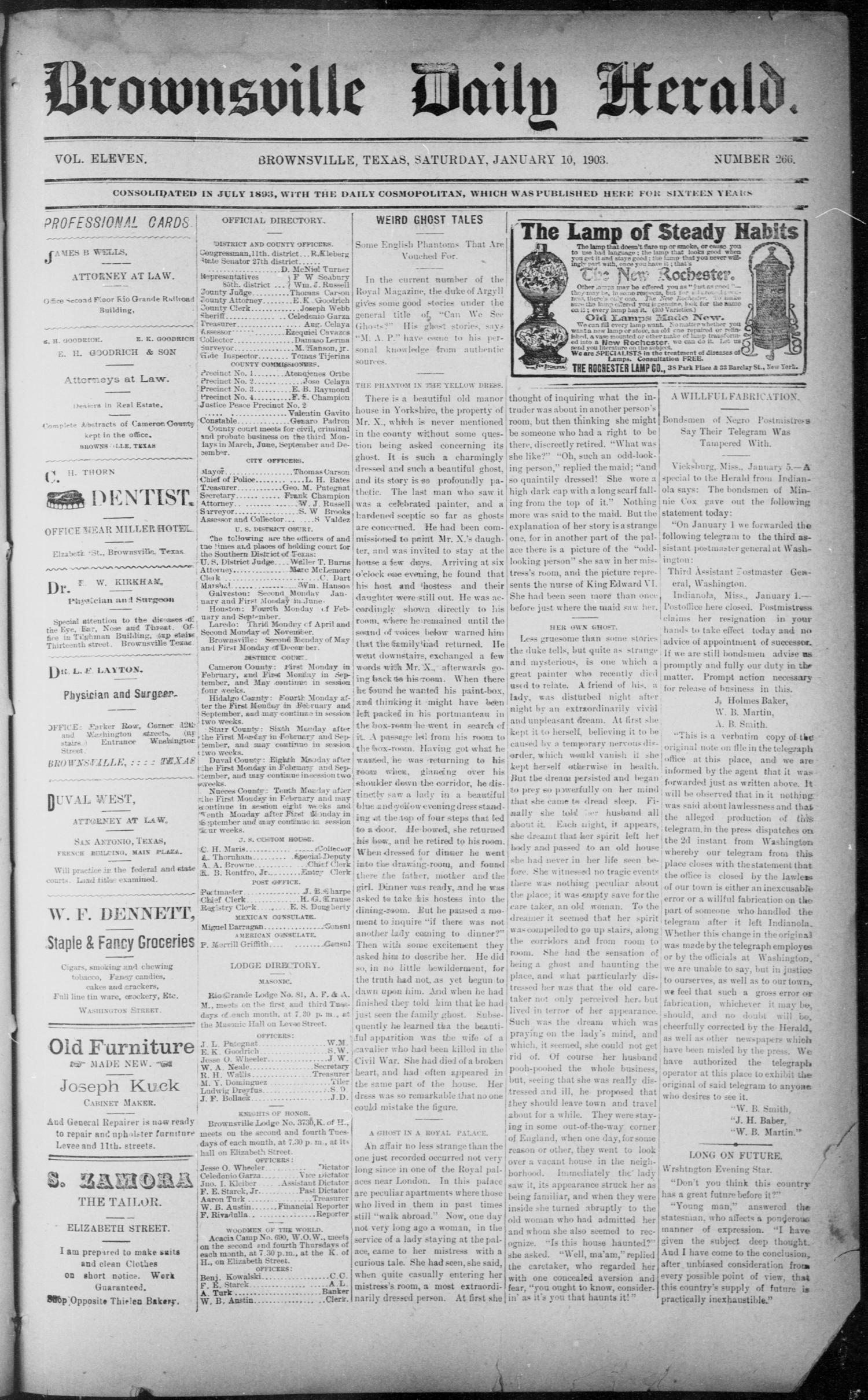 The Brownsville Daily Herald. (Brownsville, Tex.), Vol. ELEVEN, No. 266, Ed. 1, Saturday, January 10, 1903                                                                                                      [Sequence #]: 1 of 4