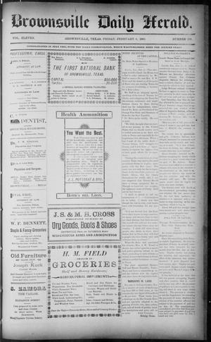 Primary view of object titled 'The Brownsville Daily Herald. (Brownsville, Tex.), Vol. ELEVEN, No. 289, Ed. 1, Friday, February 6, 1903'.