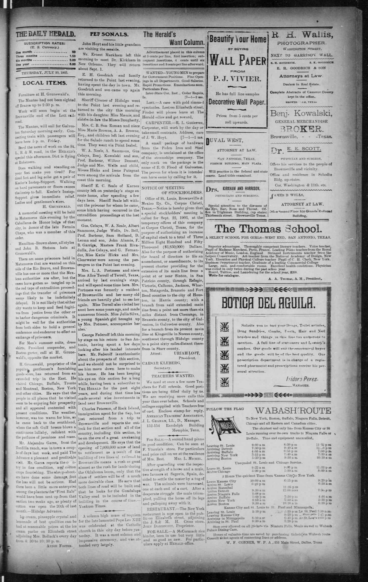 The Brownsville Daily Herald. (Brownsville, Tex.), Vol. 12, No. 22, Ed. 1, Thursday, July 30, 1903                                                                                                      [Sequence #]: 3 of 4