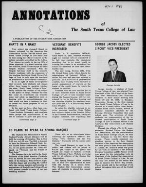 Primary view of object titled 'Annotations of the South Texas College of Law (Houston, Tex.), Spring, 1968'.