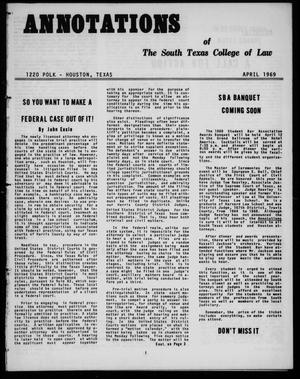 Primary view of object titled 'Annotations of the South Texas College of Law (Houston, Tex.), April, 1969'.