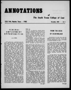 Annotations of the South Texas College of Law (Houston, Tex.), Vol. 1, December, 1969