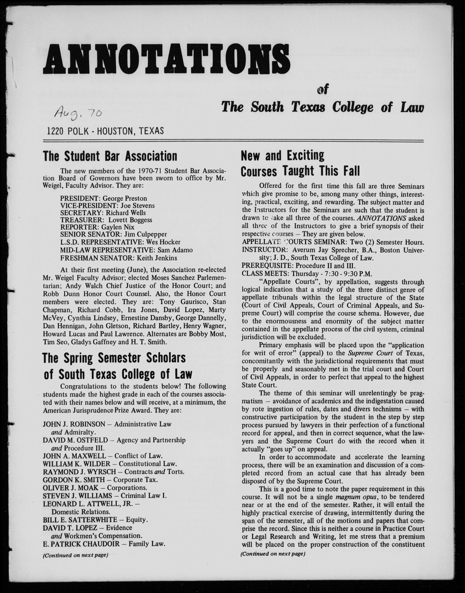 Annotations of the South Texas College of Law (Houston, Tex.), August, 1970                                                                                                      [Sequence #]: 1 of 12