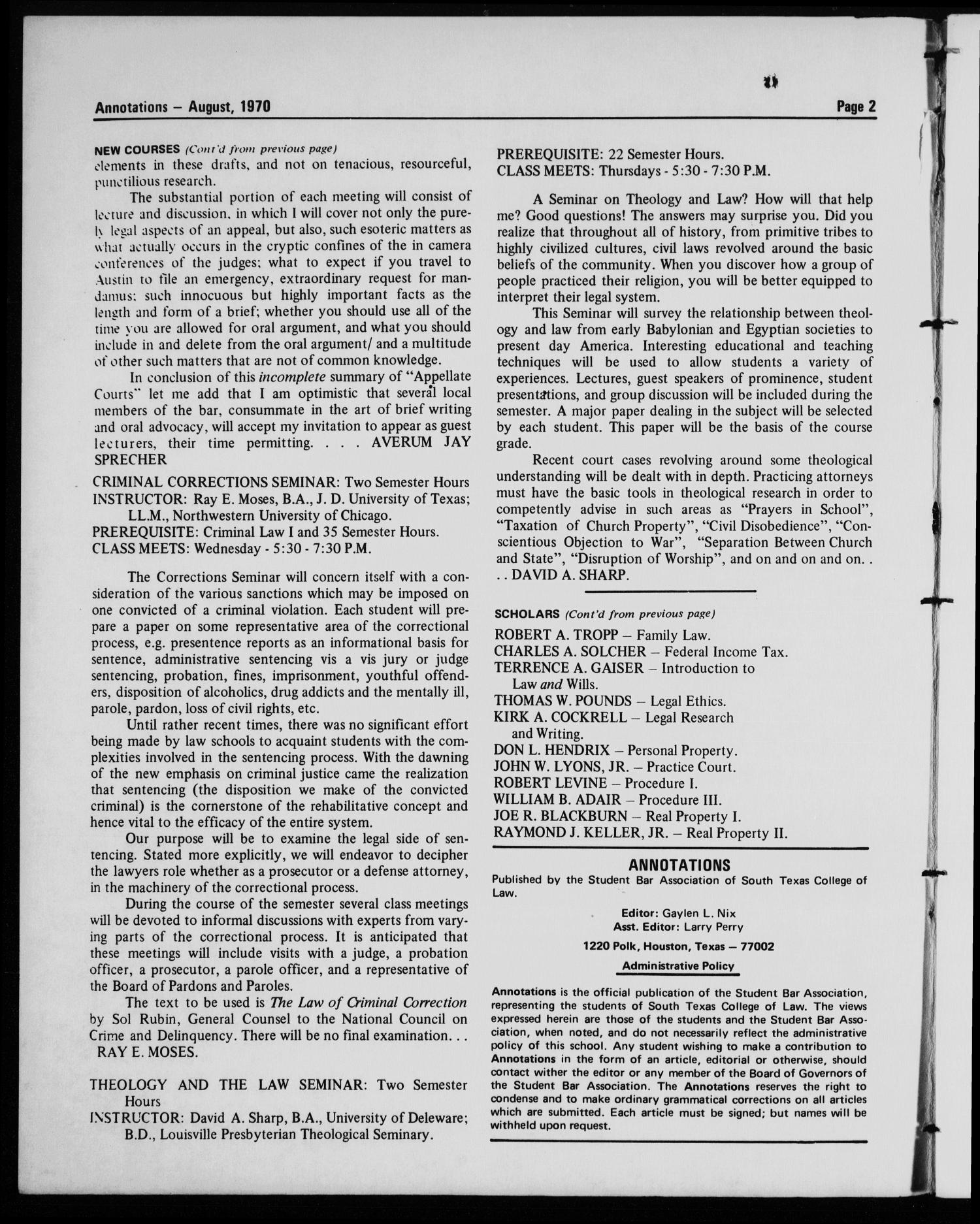 Annotations of the South Texas College of Law (Houston, Tex.), August, 1970                                                                                                      [Sequence #]: 2 of 12