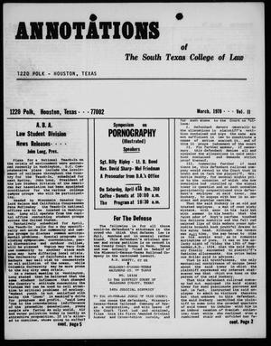 Annotations of the South Texas College of Law (Houston, Tex.), Vol. 2, March, 1970