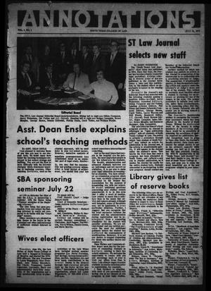 Annotations (Houston, Tex.), Vol. 1, No. 1, July 18, 1972