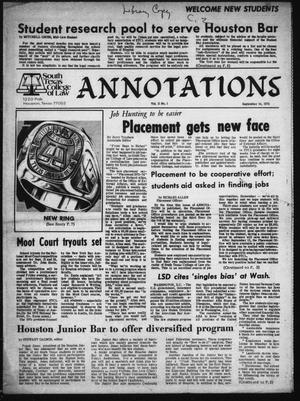 Annotations (Houston, Tex.), Vol. 2, No. 1, September 14, 1973