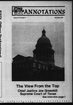 Primary view of object titled 'South Texas College of Law, Annotations (Houston, Tex.), Vol. 7, No. 5, November, 1978'.