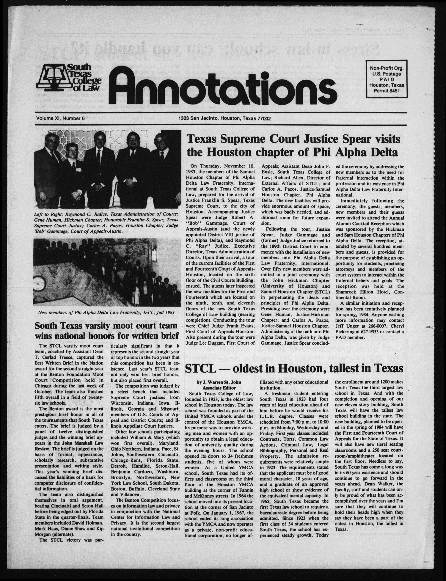 South Texas College of Law, Annotations (Houston, Tex.), Vol. 11, No. 6, December, 1983                                                                                                      [Sequence #]: 1 of 8