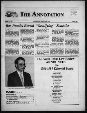 Primary view of object titled 'South Texas College of Law, The Annotation (Houston, Tex.), Vol. 14, No. 6, March, 1986'.