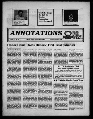 Primary view of object titled 'Annotations, South Texas College of Law (Houston, Tex.), Vol. 15, No. 3, Ed. 1, October/November, 1986'.
