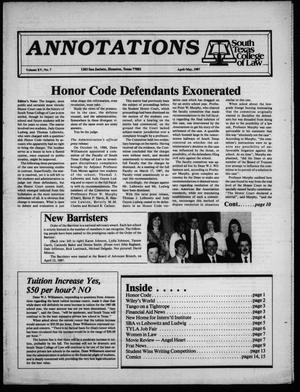 Primary view of object titled 'Annotations, South Texas College of Law (Houston, Tex.), Vol. 15, No. 7, Ed. 1, April/May, 1987'.