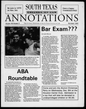 South Texas College of Law Annotations (Houston, Tex.), Vol. 21, No. 3, Ed. 1, November, 1992