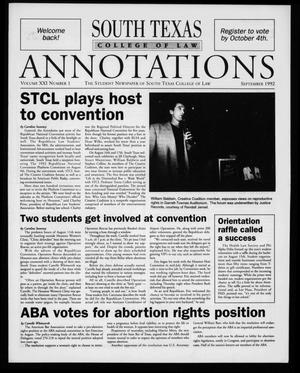 Primary view of object titled 'South Texas College of Law Annotations (Houston, Tex.), Vol. 21, No. 1, Ed. 1, September, 1992'.