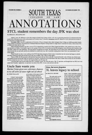 Primary view of object titled 'South Texas College of Law Annotations (Houston, Tex.), Vol. 22, No. 3, Ed. 1, November/December, 1993'.