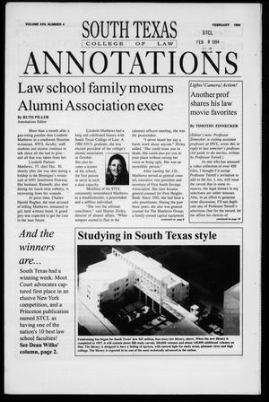Primary view of object titled 'South Texas College of Law Annotations (Houston, Tex.), Vol. 22, No. 4, Ed. 1, February, 1994'.