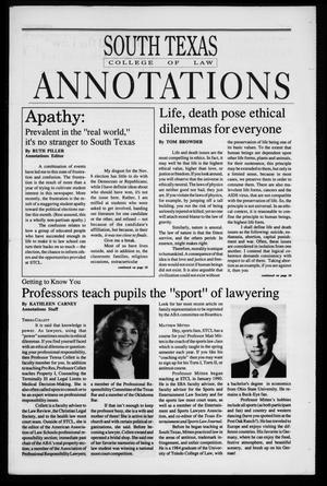 Primary view of object titled 'South Texas College of Law Annotations (Houston, Tex.), Vol. 23, No. 4, Ed. 1, November, 1994'.