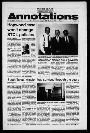 Primary view of object titled 'South Texas College of Law Annotations (Houston, Tex.), Vol. 24, No. 8, Ed. 1, April, 1996'.