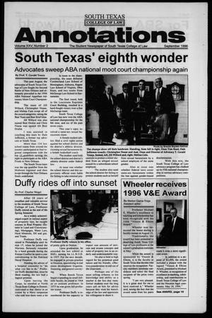 Primary view of object titled 'South Texas College of Law Annotations (Houston, Tex.), Vol. 25, No. 2, Ed. 1, September, 1996'.