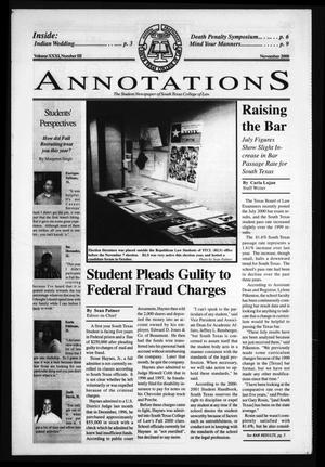 Primary view of object titled 'South Texas College of Law Annotations (Houston, Tex.), Vol. 31, No. 3, Ed. 1, November, 2000'.