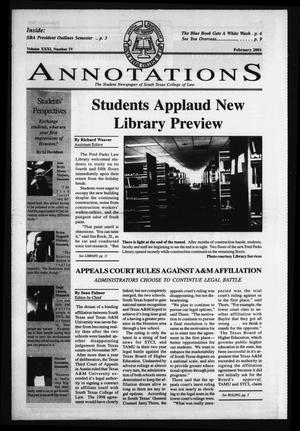 Primary view of object titled 'South Texas College of Law Annotations (Houston, Tex.), Vol. 31, No. 4, Ed. 1, February, 2001'.