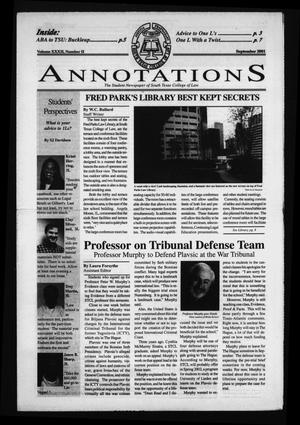 Primary view of object titled 'South Texas College of Law Annotations (Houston, Tex.), Vol. 32, No. 2, Ed. 1, September, 2001'.