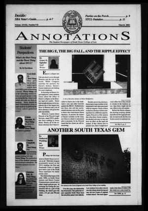 Primary view of object titled 'South Texas College of Law Annotations (Houston, Tex.), Vol. 32, No. 7, Ed. 1, March, 2002'.