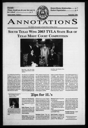 Primary view of object titled 'South Texas College of Law Annotations (Houston, Tex.), Vol. 34, No. 1, Ed. 1, September, 2003'.