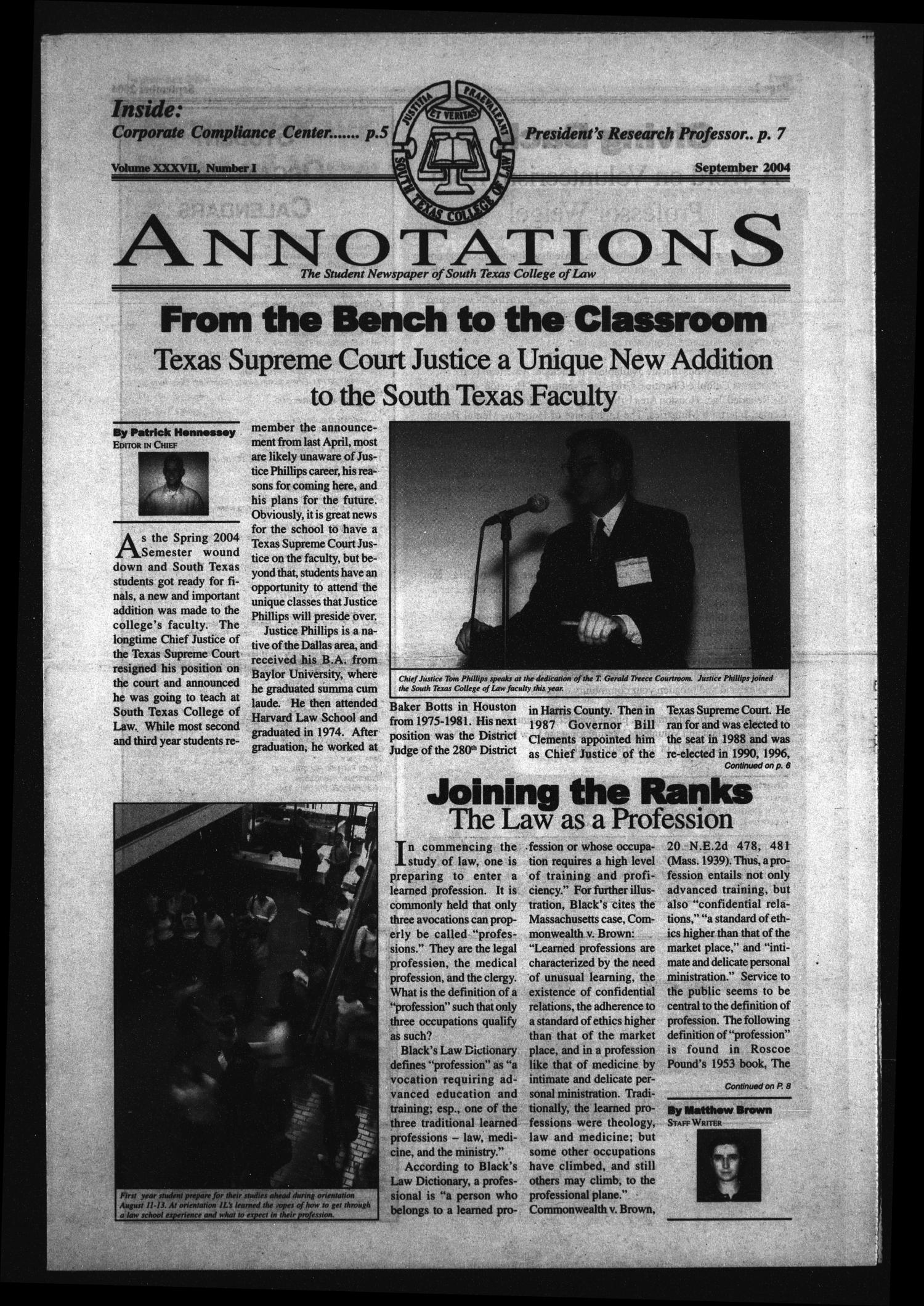 South Texas College of Law Annotations (Houston, Tex.), Vol. 37, No. 1, Ed. 1, September, 2004                                                                                                      [Sequence #]: 1 of 12