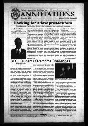 Primary view of object titled 'South Texas College of Law Annotations (Houston, Tex.), Vol. 39, No. 3, Ed. 1, November, 2006'.