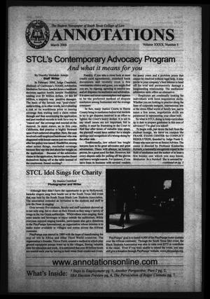 Primary view of object titled 'South Texas College of Law Annotations (Houston, Tex.), Vol. 40, No. 5, Ed. 1, March, 2008'.