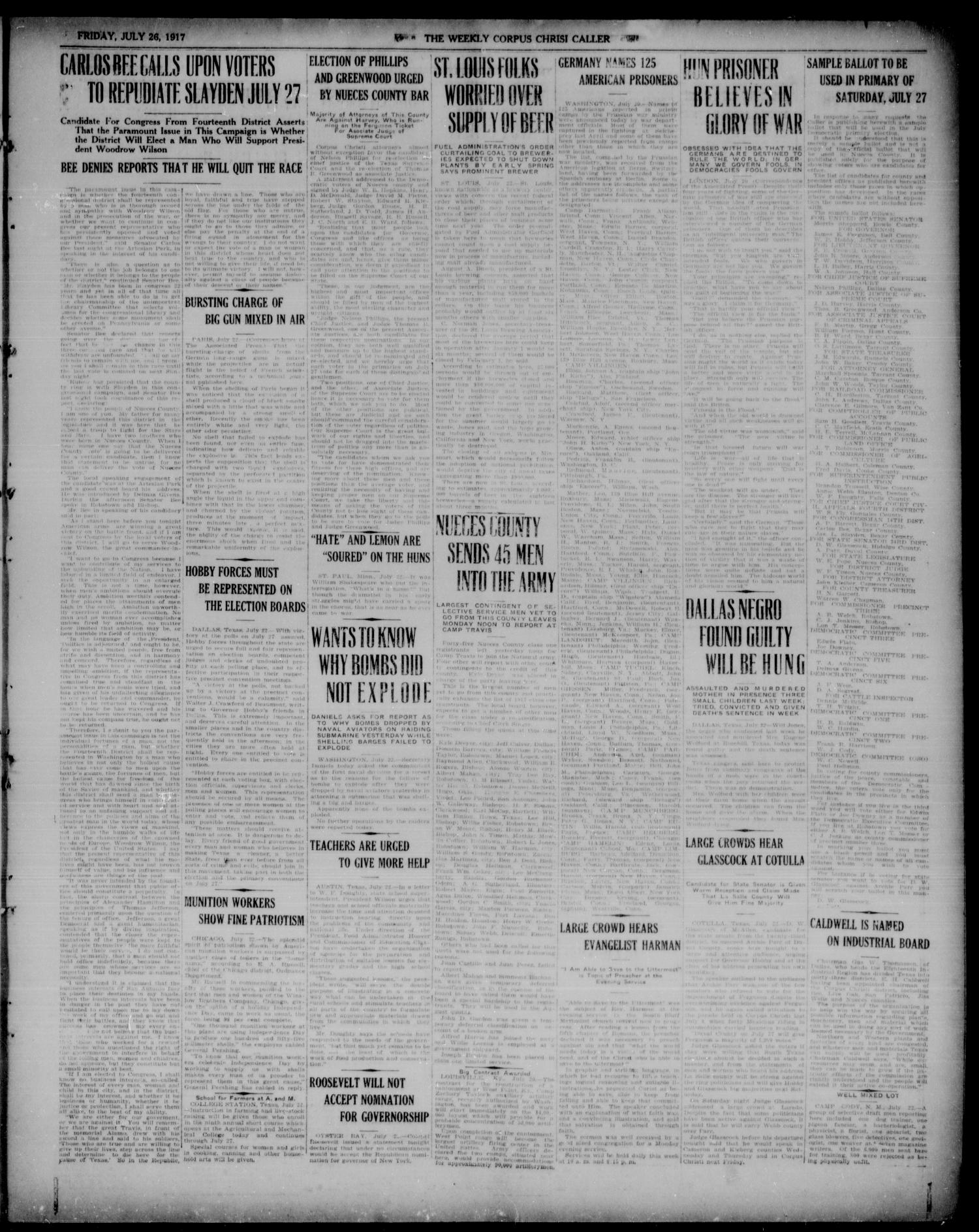The Weekly Corpus Christi Caller (Corpus Christi, Tex.), Vol. TWO, No. 40, Ed. 1, Friday, July 26, 1918                                                                                                      [Sequence #]: 3 of 4