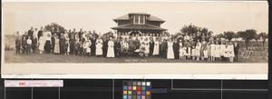 Primary view of object titled 'Wedding at old Bryan home [labeled on back]'.